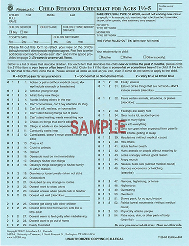 child behavior checklist for ages l 5